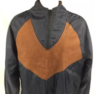 Wrangler Pro Rodeo Gear Leather 1/4 Zip Jacket